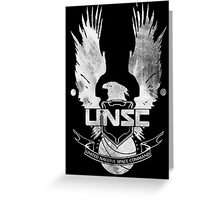 Halo UNSC Faded Watercolor Print White on Black Greeting Card