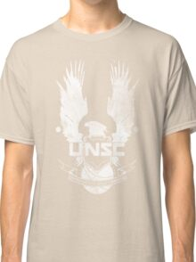 Halo UNSC Faded Watercolor Print White on Black Classic T-Shirt