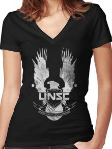 Halo UNSC Faded Watercolor Print White on Black Women's Fitted V-Neck T-Shirt