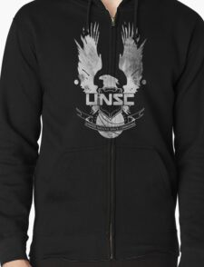 Halo UNSC Faded Watercolor Print White on Black Zipped Hoodie