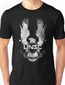 Halo UNSC Faded Watercolor Print White on Black Unisex T-Shirt