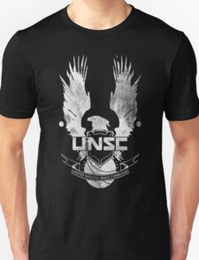 Halo UNSC Faded Watercolor Print White on Black T-Shirt
