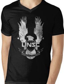 Halo UNSC Faded Watercolor Print White on Black Mens V-Neck T-Shirt