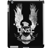 Halo UNSC Faded Watercolor Print White on Black iPad Case/Skin