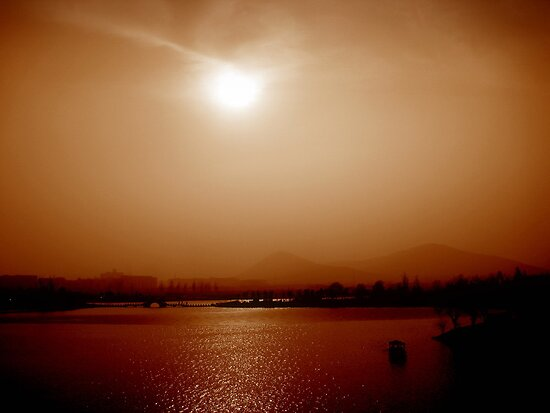 Xuzhou river and mountains, China by Chris Millar