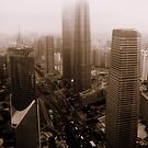 Downtown Shanghai from above, China by Chris Millar