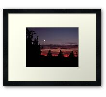 Sunset and Moon Rising Framed Print