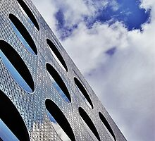 """Reflections on Perforated Steel"""". Circular Façade Study # 1.  by PAPERPLAN"""