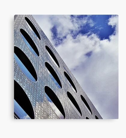 """Reflections on Perforated Steel"""". Circular Façade Study # 1.  Canvas Print"""
