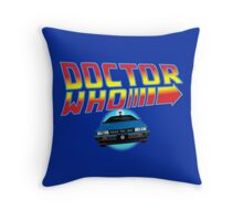 Back to Doctor Who Mash Up with Type 40 Delorean Throw Pillow