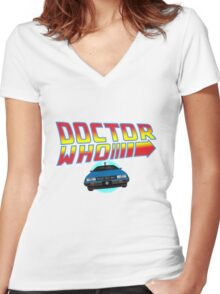 Back to Doctor Who Mash Up with Type 40 Delorean Women's Fitted V-Neck T-Shirt