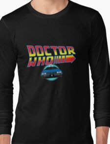 Back to Doctor Who Mash Up with Type 40 Delorean Long Sleeve T-Shirt