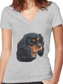 Black & Tan Cavalier King Charles Spaniel Women's Fitted V-Neck T-Shirt