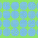 Sky blue polka dots with lime by Morag Anderson