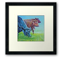 Field of Dreams - Acrylic painting three cows Framed Print