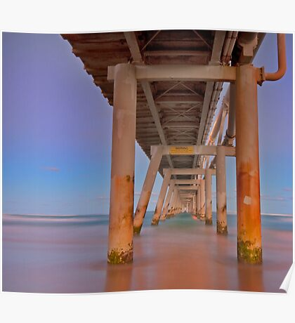 Twilight Under the Jetty -Sandpumping Jetty at the Spit on the Gold Coast Qld Poster