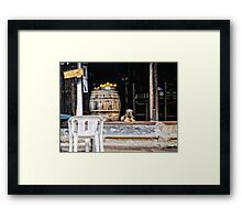 Tavern dog with oranges Framed Print