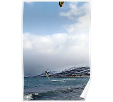 Kiting by the arctic shore Poster