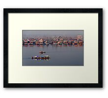 Shikaras and Houseboats at Dal Lake Framed Print