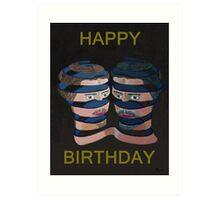 Mykonos By Night Happy Birthday Art Print