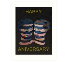 Mykonos Rose Happy Anniversary Art Print