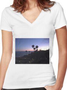 California Sunset Women's Fitted V-Neck T-Shirt