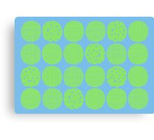 Lime polka dots with sky blue Canvas Print