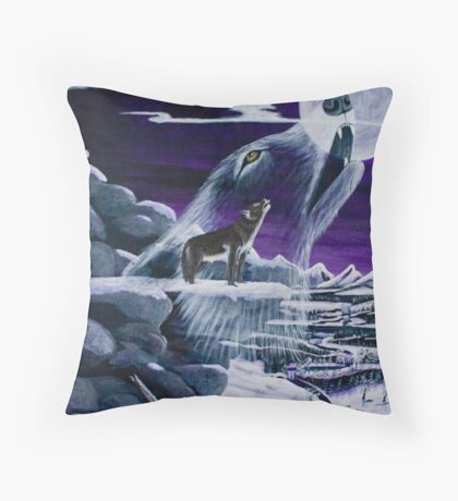 Moon Howl - Greeting Cards Throw Pillow
