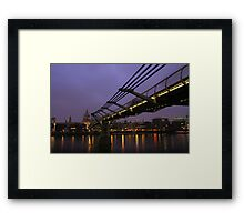 The Millenium Bridge Stretching To St Pauls Cathedral In London, England. Framed Print