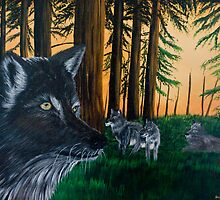 Wolves in the Forest - Greeting Cards by richardyoung1
