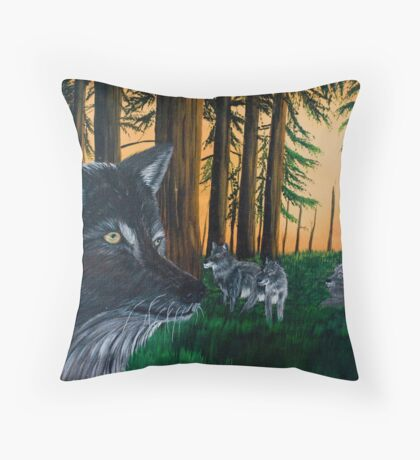 Wolves in the Forest - Greeting Cards Throw Pillow