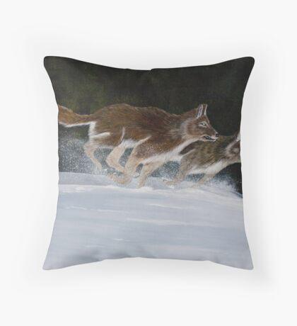 Wolves Run Through the Snow - Greeting Cards Throw Pillow