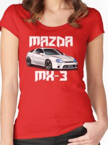 Mazda MX-3 (White car, big text)  Women's Fitted Scoop T-Shirt