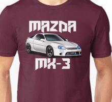 Mazda MX-3 (White car, big text)  Unisex T-Shirt