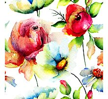 Colorful Watercolors Floral Pattern Photographic Print