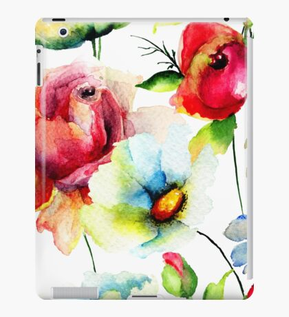 Colorful Watercolors Floral Pattern iPad Case/Skin