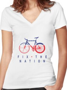 Fix The Nation Fixed Gear Women's Fitted V-Neck T-Shirt