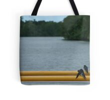 Birds on a Railing Tote Bag