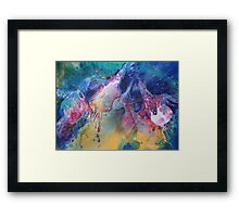 Watercolour: Rainbow of Fuchsias Framed Print
