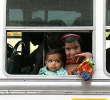 Young Indian Girl on a Bus in Rajasthan by TracyS