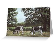 Two Cows in field at Throop Greeting Card