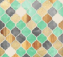 Charcoal, Mint, Wood & Gold Moroccan Pattern by micklyn