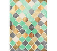 Charcoal, Mint, Wood & Gold Moroccan Pattern Photographic Print