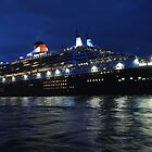 Queen Mary 2 sails into Sydney Harbour by Neville Gafen
