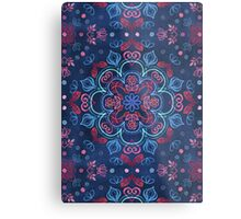 Cherry Red & Navy Blue Watercolor Floral Pattern Metal Print