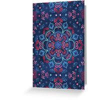 Cherry Red & Navy Blue Watercolor Floral Pattern Greeting Card