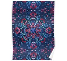 Cherry Red & Navy Blue Watercolor Floral Pattern Poster