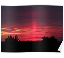 Pink Ray Sunset Poster