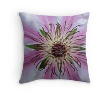 """Clematis """"Nelly Moser"""" Throw Pillow"""