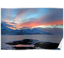 Winter sunset in the arctic Poster